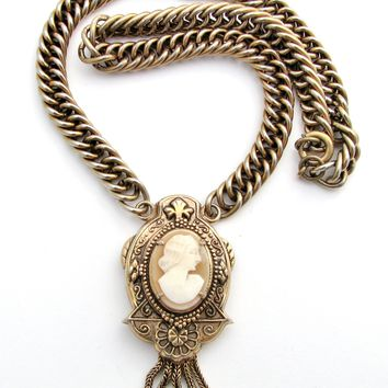 Victorian Hand Carved Shell Cameo Lavalier Necklace