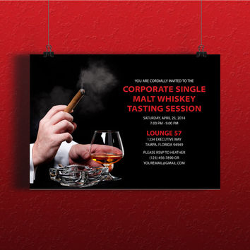Instant Download-Corporate Executive Bourbon Whiskey Tasting DIY Printable Birthday Party Wedding Bachelor Invitation Template