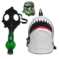 Combo Deal: Shark Backpack Gray + Gas Mask Pipe + Stoned Trooper Pin