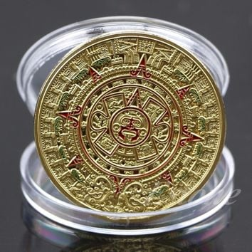 Gold Silver Plated Mayan Aztec Art