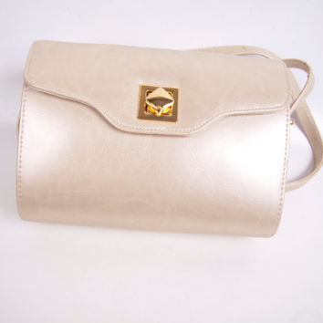 Vintage Champagne Leather Shoulder Bag Box Purse Gold Crossbody bag Gold Hardware Trim