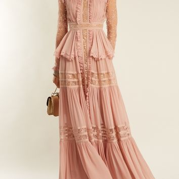 High-neck lace-insert georgette gown   Elie Saab   MATCHESFASHION.COM UK