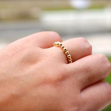 14k Gold Beaded ring , Gold Filled Elastic Ring -Stackable ring, Gold ring, skinny ring, Toe Ring Elastic Stacking, gold band