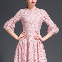 Pink Bell Sleeve Lace Dress