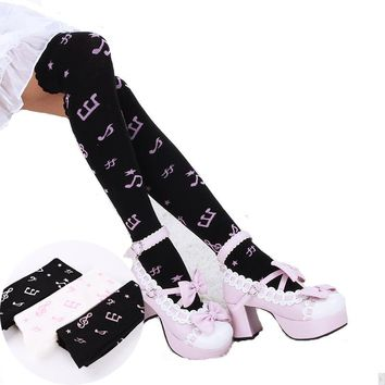Over the Knee Musical Note Print Quality Stockings