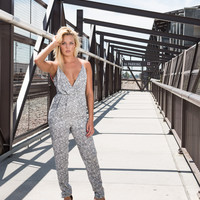 Crisscross Abstract Printed Jumpsuit