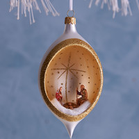 Nativity in Globe Christmas Ornament - De Carlini