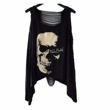 Fashion Skull Print Hollow Back Women Tank Tops