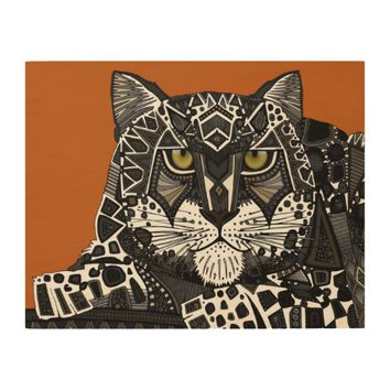 snow leopard orange wood wall art