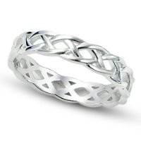 925 Sterling Silver Celtic Knot Eternity Band Ring Sz 10