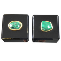 Pair Malachite and Black Lucite Jewelry Boxes | 1stdibs.com