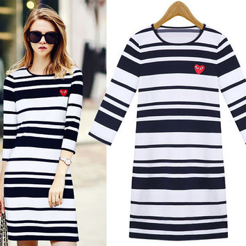 3/4 Sleeve Striped Bodycon Dress