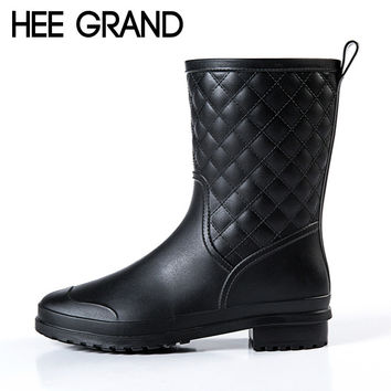 HEE GRAND Platform Rain Boots 2016 Casual Women Rainboots Slip On Ankle Boots Sexy Flats Shoes Woman 3 Colors Size 36-41 DWD2633