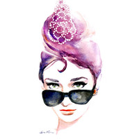 Audrey Hepburn Iconic  Sunglasses - Breakfast at Tiffanys - Print of Original Watercolor Painting