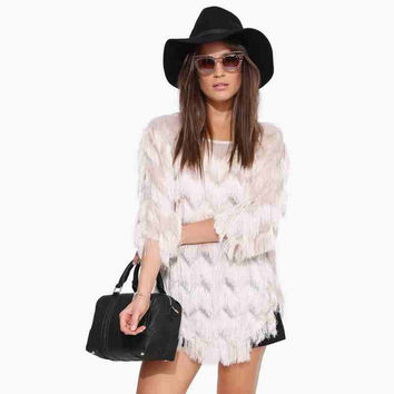 Cream All-Over Fringed Sleeve Top