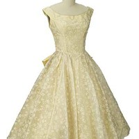 Authentic Vintage 1950s Prom Dresses-Emma Domb Yellow 50s Tea Length Dress
