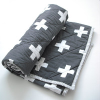 Charcoal and white plus sign quilted blanket, Modern baby quilt, toddler quilt, crib quilt, whole cloth quilt READY TO SHIP