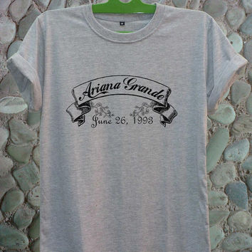 Ariana Grande Shirt Ariana Grande Born Tshirt MT-ArianaBornB/W Ariana Grande Cloth Shirt Gray White Color Unisex Adult