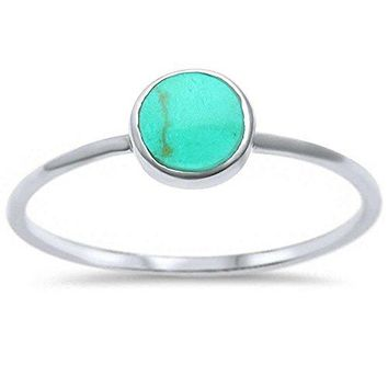 Sterling Silver Round Simulated Gemstone Ring