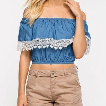 Lovely Lace Ruffle Crop Top in Off Shoulder   Blue
