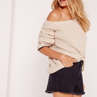 Missguided - Tipped Trim Off Shoulder Jumper Nude