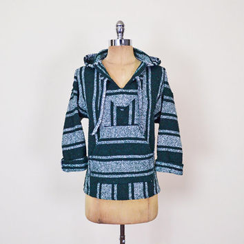 Green Stripe Woven Blanket Baja Mexican Poncho Hoodie Sweatshirt Pullover Jacket 90s Grunge Surf Surfer Women XS Extra Small S M Medium