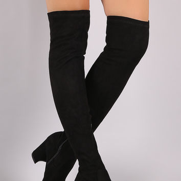 Shoe Republic LA Fittted Suede Block Heeled Over-The-Knee Boots