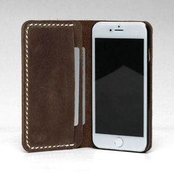 Personalized Leather IPhone 6s Wallet / 6s Plus Case / Leather Iphone 6 Sleeve / IPhone 6 Plus Case Wallet / Rustic Brown Distressed leather