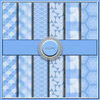 "SALE !! COMMERCIAL Use OK 6 Digital Pastel Blue Pattern Scrapbook Papers, 12""x12"" 300Dpi Instant Download"