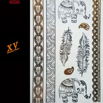 New diy waterproof gold and silver bracelet necklace temporary tattoo body art flash metal gold metal tattoo of an elephant
