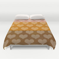 Patina Hearts Rose Gold Duvet Cover by Beautiful Homes