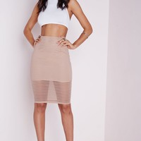 Missguided - Stripe Mesh Midi Skirt Nude