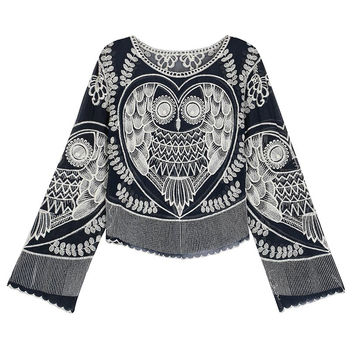 Navy Owl Embroidered Blouse