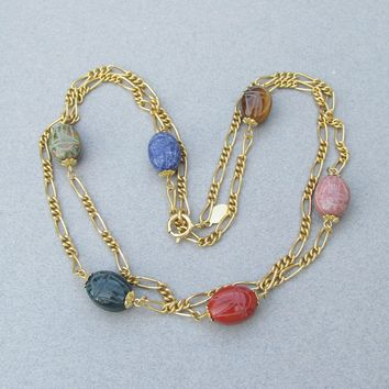 Kirks Folly LONG Vintage Gemstone SCARAB Beads Chain Necklace