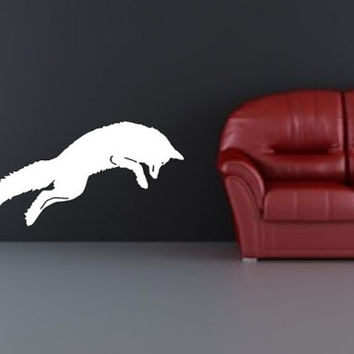 Fox Vinyl Wall Decal Arctic Fox Jumping 22341