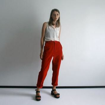 vintage red corduroy LACOSTE high waist ankle length tapered pants.