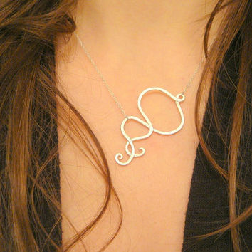 Sterling Silver Infinity Necklace Bridesmaids Gift Christmas Gift Flower Girl Necklace Sideways Necklace