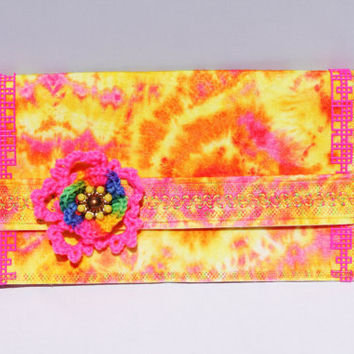 Embroidered, Pink, Orange, Yellow Tie Dye Clutch Purse With Crochet Flower Accent