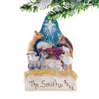 Manger Christmas Ornament - personalized nativity ornament - personalized Christmas ornament