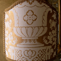 Half Lamp Shade Fortuny Fabric Carnavalet White & Gold Lampshade - Handmade in Italy