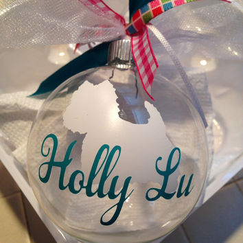 Christmas ornament, personalized pet ornament, westie christmas ornament, custom pet ornament, pet Christmas ornament, glass ornament