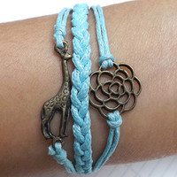 Unisex Fashion simple ancient bronze  vintage rose and giraffe  Pendant  blue wax rope  braided Leather Bracelet-Harmonious life