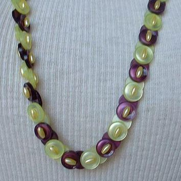 Cute Button Necklace Vaseline-green Purple-plum Vintage Jewelry