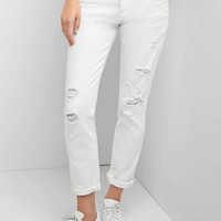 Mid rise destructed relaxed boyfriend jeans | Gap