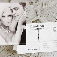 "50 Wedding Thank You Card - Toulon Vintage Photo Personalized 4""x6"""
