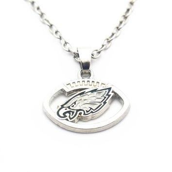 Hot Sale 10pcs/lot Enamel Football Style Philadelphia Eagles Pendant Necklace Silver Chains Necklace For Sports Necklace Jewelry
