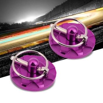 Purple Race Billet Style Aluminum Cosmetic Front Bonnet Hood Lock Pin+Cable+Tape