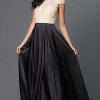 Long Satin and Lace Cap Sleeve Prom Dress