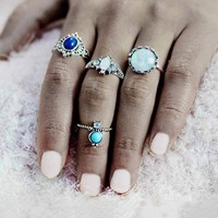 4pcs/Set Silver Color Stone Midi Ring Sets for Women Boho Beach Vintage Turkish Punk Knuckle Ring Jewelry