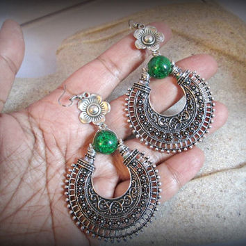 Emerald geen earring-large feiligree earring-bohemian earring-gypsy earring-ethnic earring-boho earring-antique silver earring